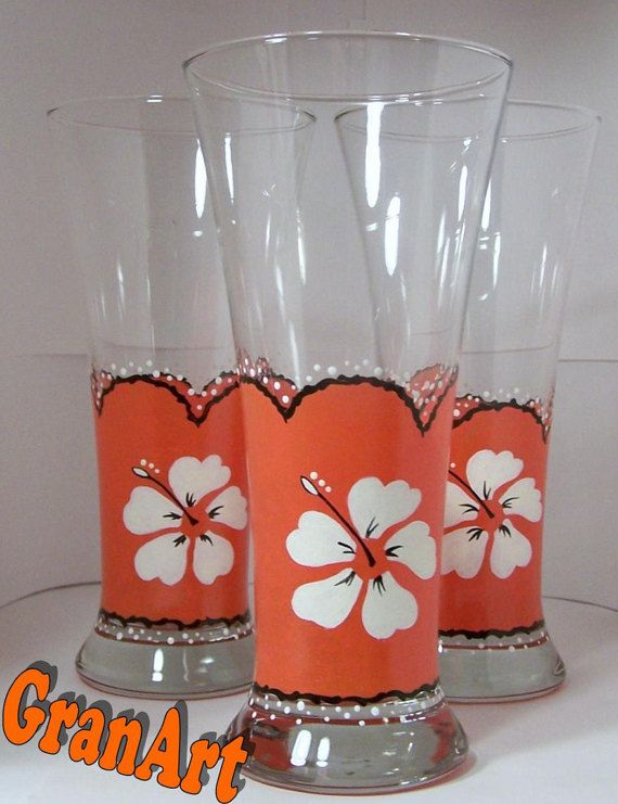 Sunkist Pilsner Glass 22.5 oz. is painted with enamels and fired to preserve the paint.  Paint colors used; Orange, Black and White.  All my hand painted glasses must be hand washed and dried and the art work will last a long time.  The price is for one hand painted customized Sunkist Pilsner Glass.  If you would like a name added to the glass there is an additional fee per glass. Please add this to your shopping cart.  https://www.etsy.com/listing/461258010/add-name-...