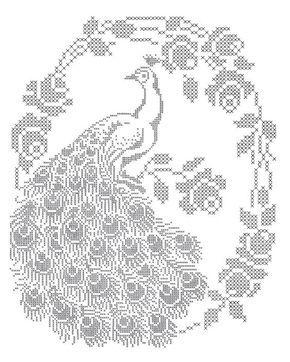 Peacock cross stitch pattern: