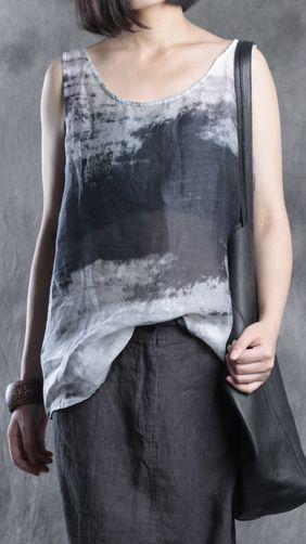7dc9ecae3c9ba9 gray prints linen tops trendy plus size linen clothing blouses women o neck  sleeveless linen tops