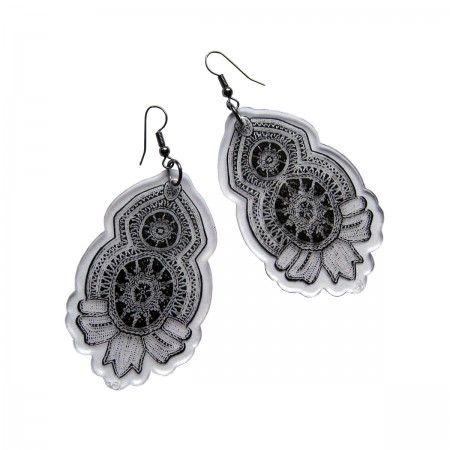 Lacrom Store || double-ei, earrings, plexiglass  Transparent acrylic glass, made with the laser cut technique and printed with a lace pattern. Nickel colored hoops.
