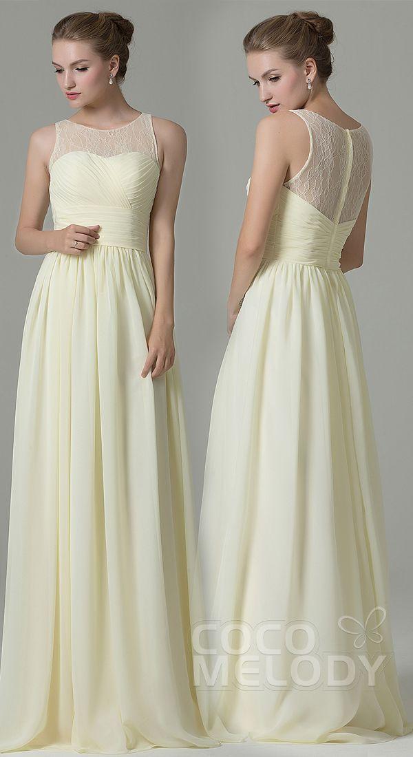 Hot Sale Sheath-Column Illusion Natural Floor Length Lace/Chiffon Light Yellow Sleeveless Zipper Bridesmaid Dress COZK16005 #bridesmaiddresses #cocomelody