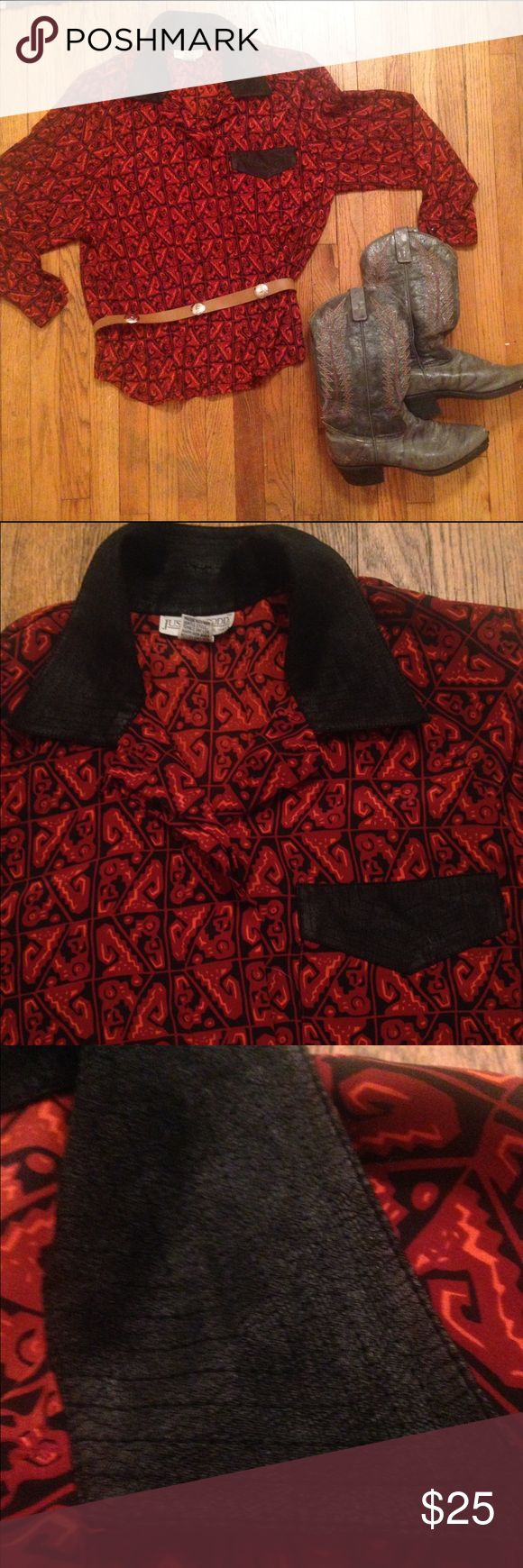 🌵Southwestern Vintage Button Down🌵 Absolutely gorgeous/ one of a kind! Excellent condition. Has removable shoulder pads. 100% polyester.machine wash warm/ tumble dry low. Will fit a medium. Pocket/ collar have a faux leather look Vintage Tops Button Down Shirts