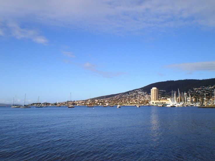 Looking south, across to Wrest Point in Hobart, Tasmania.
