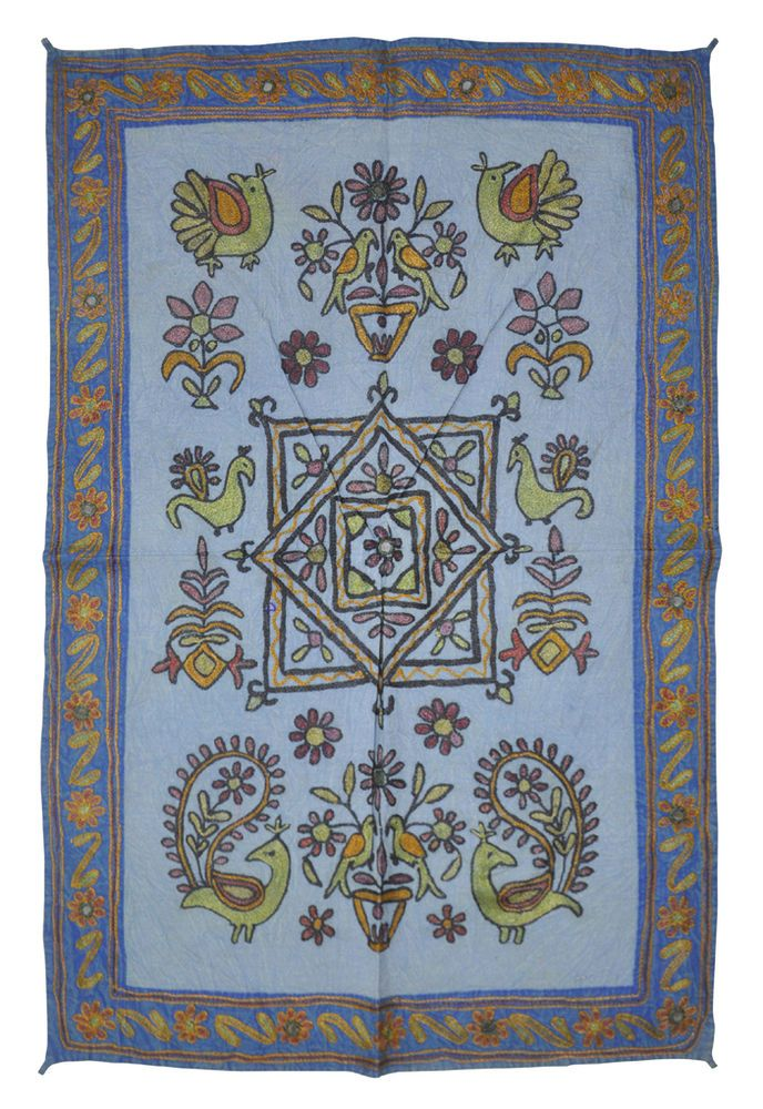 Indian Handmade Home Decor Cotton Wall Hanging Birds Embroidery Design Tapestry #LalHaveli #AntiqueStyle