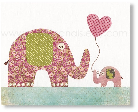 Nursery art prints, baby nursery decor, nursery art, kids art print, baby Elephant, I Love You Mommy 8x10 print. $14.00, via Etsy.