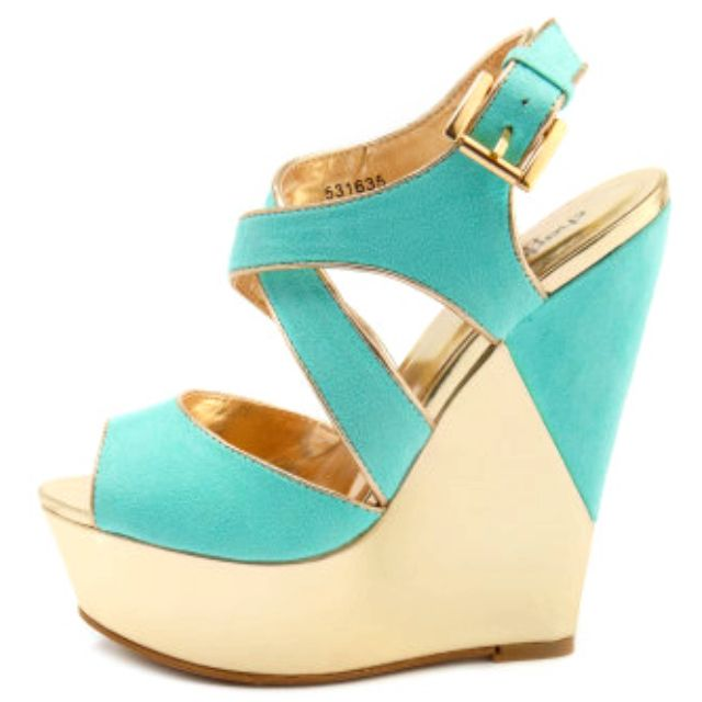 Hot: Gold Wedges, Fashion, Style, Color, Cute Wedges, Closet, Turquoise Wedges, Turquoise Shoes, Summer Wedges