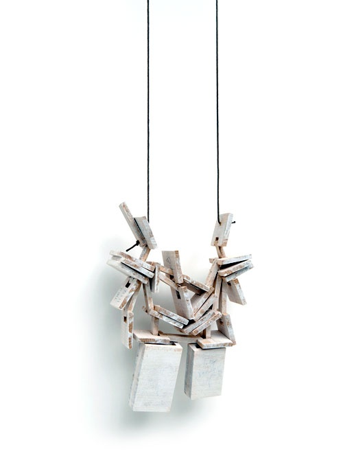 Despo Sophocleous  Necklace: Change in direction 14 2011  Wood, steel, brass, paint  15 x 10 x 3 cm