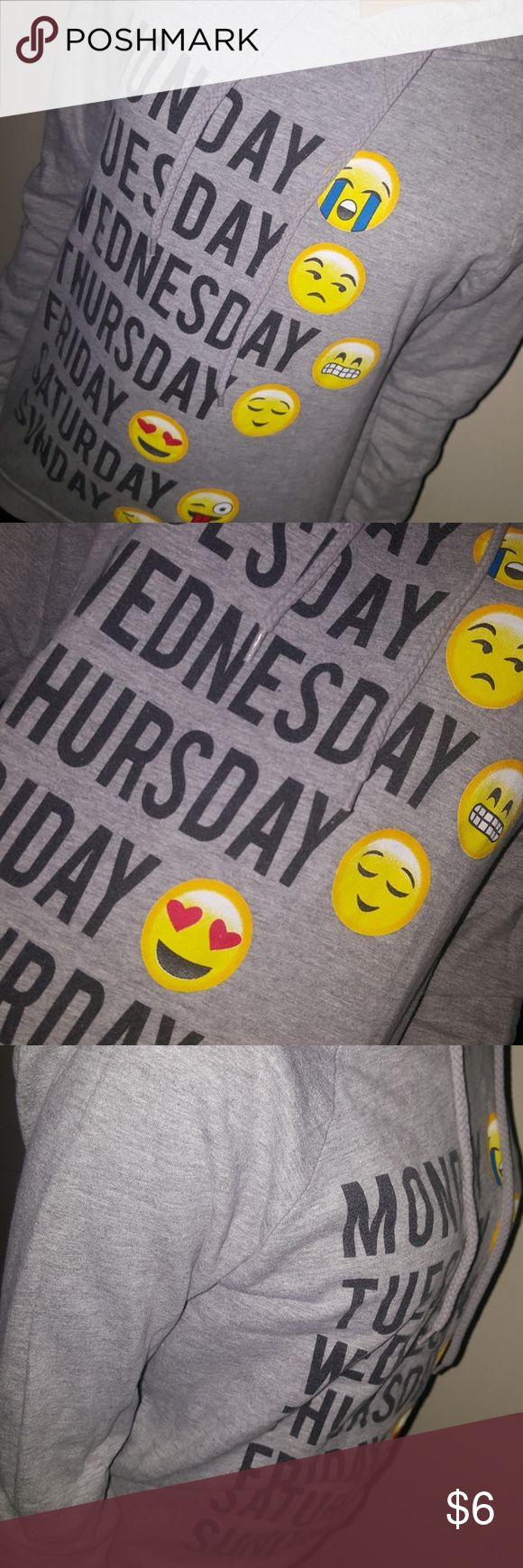Emoji sweatshirt Gray sweatshirt with emojis. Lightly worn in great condition! other Sweaters Crew & Scoop Necks