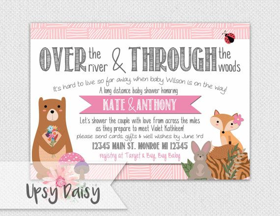 Long Distance Baby Shower Invitation, Girls, Pink Woodland Forrest Friends  Rustic Fox Shower By