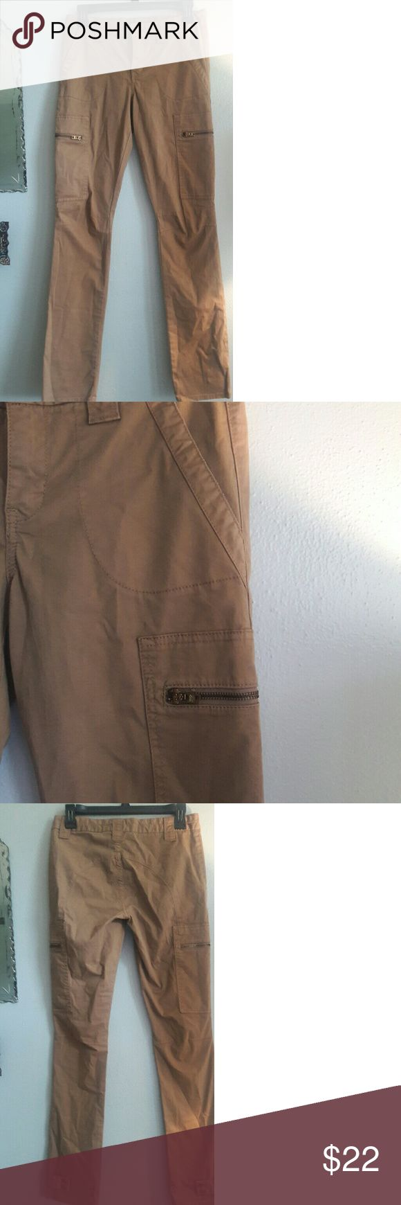 Tory Burch Slim Fit Cargo Pants size 6 Slim Fit Khaki Cargo Pants. Zipper pockets, strap /snap ankle detail. Tory Burch size 6 Tory Burch  Pants Skinny