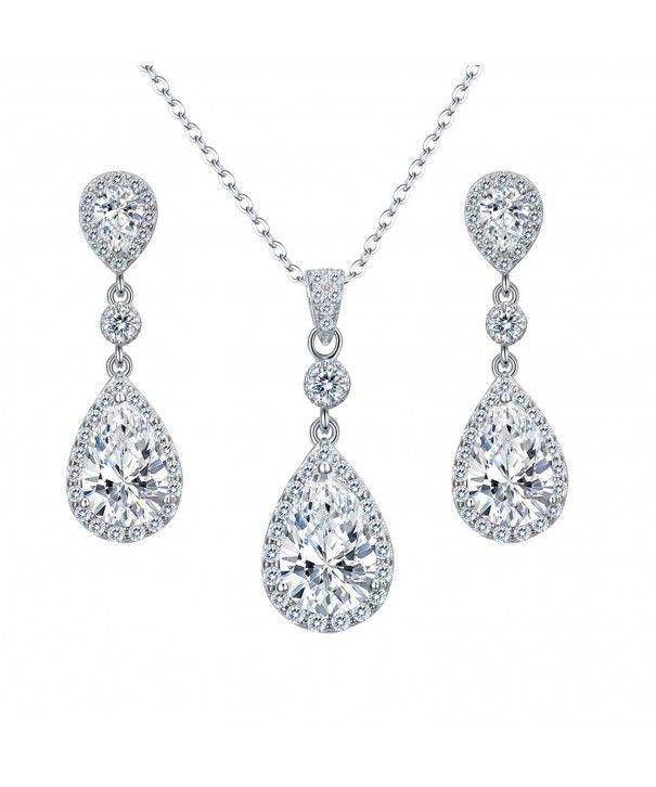 9baadfa16 Jewelry Sets,925 Sterling Silver Full Cubic Zirconia Teardrop Bridal Pendant  Necklace Dangle Earrings Set Clear CV182GLIWG8 #fashion #jewelry #jewels  #gift