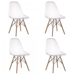 Conjunto 4 Cadeiras Policarbonato DKR Eiffel Wood Base Madeira