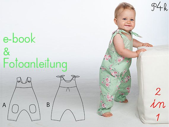 Baby girls overall sewing pattern pdf with bows and yoke on the back. Toddler jumpsuit dungaree for summer + winter LOTTE by Patternforkids  – Nähkästchen – Kinder