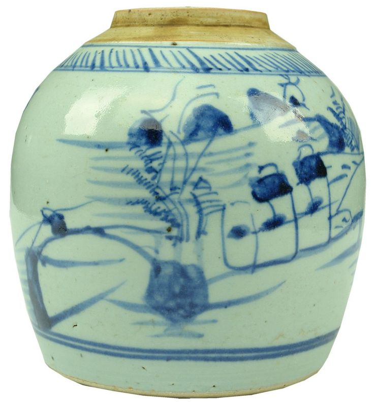Auction 27 Preview | 299  | Large Blue White Pattern Chinese Ginger Jar  Large Blue and White Ginger Jar. 160 mm. Fabulous design to this example. Good, 4 x 6.5 mm holes drilled through the base, hairline to glaze, scratch or two (6.0)  sold $36.00