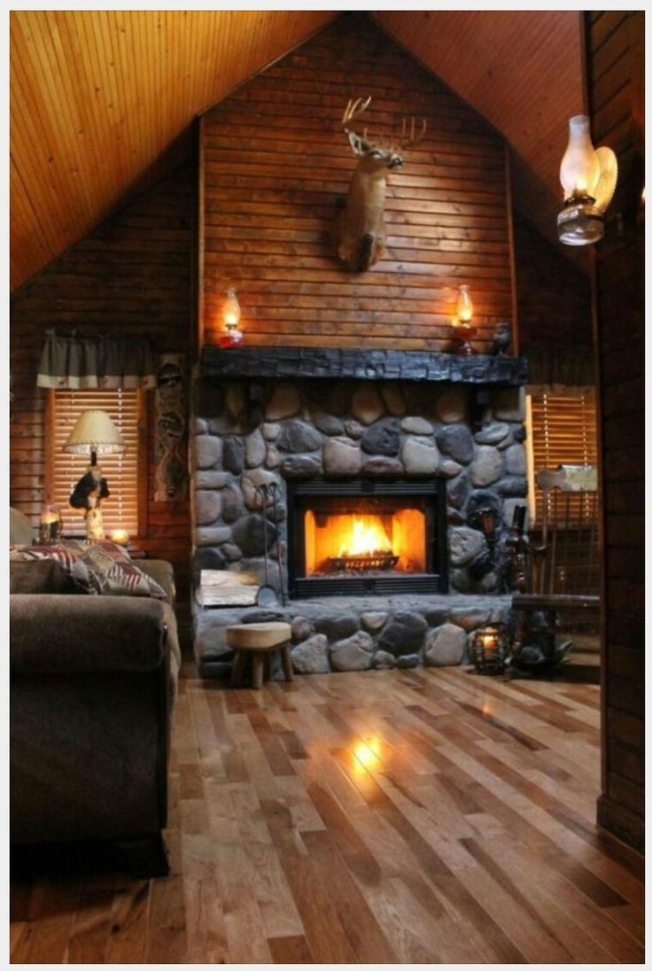 Log Cabin Home Interior: Gorgeous Log Cabin Fireplace. I can feel the warmth. Ahhhh! ;)