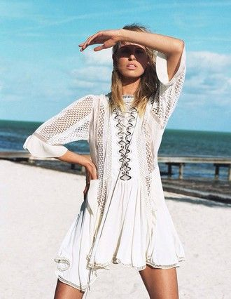 dress white dress white cover white cover up style fashion lace dress white lace dress beach dress beach wear bathing suit beautiful