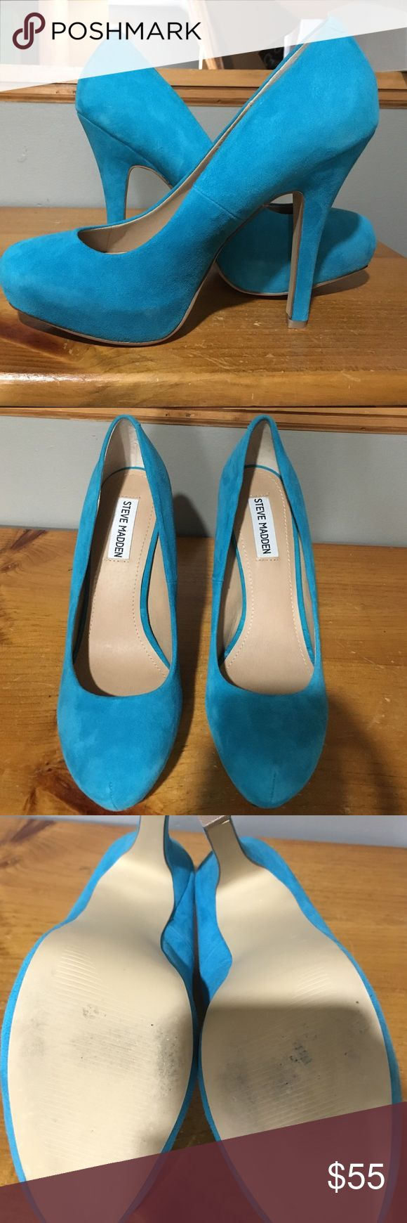 "Blue Suede Steve Madden pumps Size 8.5. suede pumps. Steve Madden ""Traisie"". Heel is approximately 4.25 inches with hidden platform in front of the shoe. Worn once, soles in great shape. Blue is like an aqua, making them a great summer or spring shoe. Described as ""turquoise suede"" by brand. Let me know if you have any questions! Steve Madden Shoes Heels"