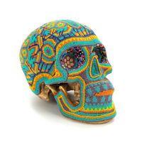 HUICHOL BEADED HUMAN SKULL Mexican Folk Bead Art Dia De Los Muertos Day of Dead