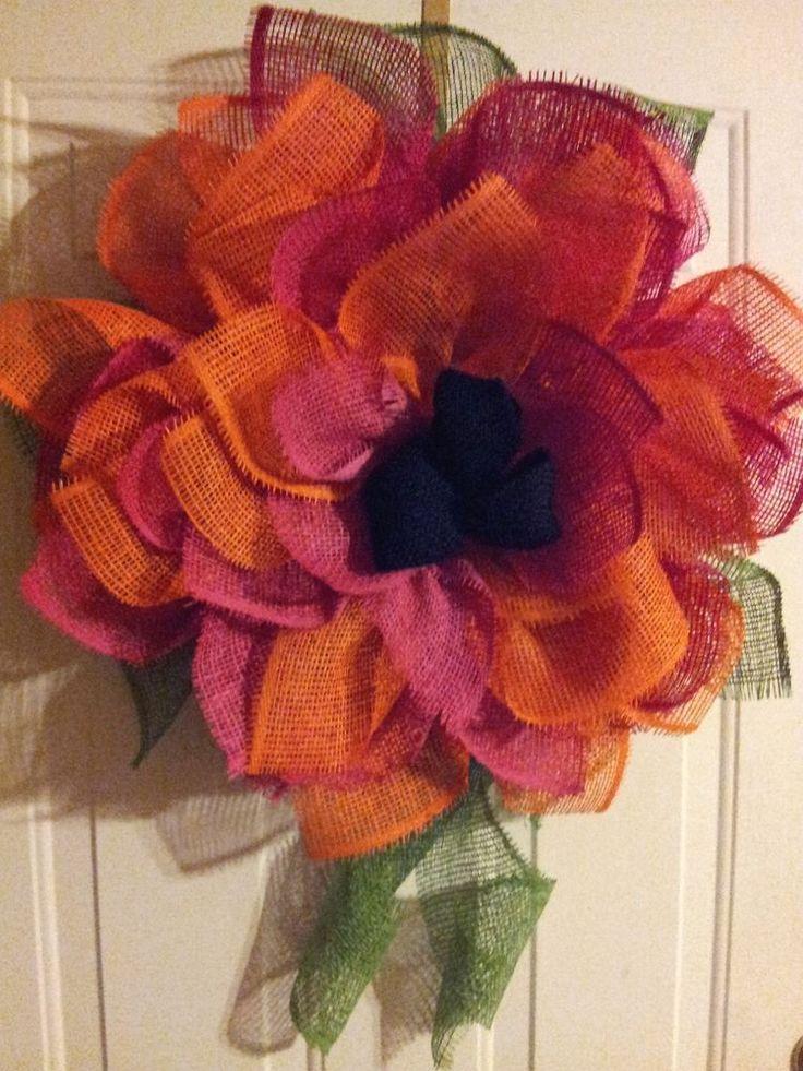 Lg. Pink and Orange Variegated Paper Mesh Dahlia Wreath w/Black Burlap Center
