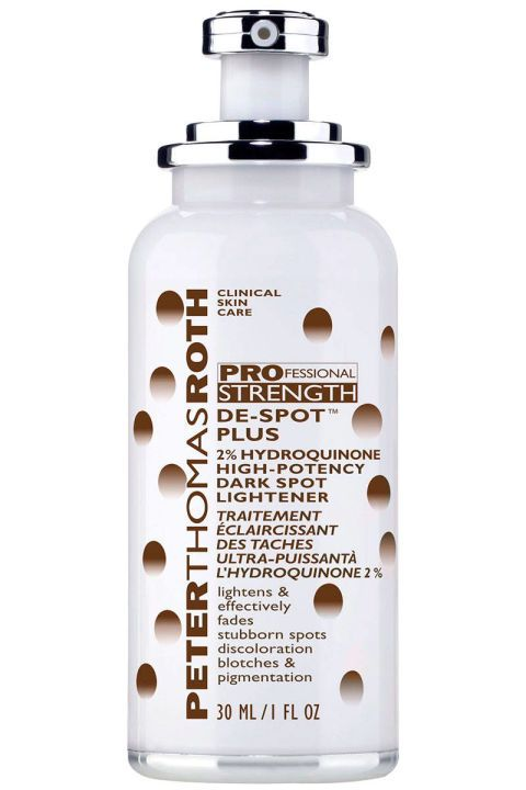 A two percent blend of hydroquinone—the maximum level available without a prescription—works to fade age spots, sun spots, freckles, acne scars and melasma. Peter Thomas Roth De-Spot Plus, $78, peterthomasroth.com.