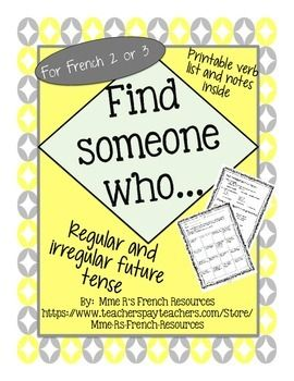 French Find someone who... future tense verbs is a great formative assessment for French 2 or 3 students who are learning the simple future / le futur simple for the first time or those who need more reinforcement. Students use the common regular and irregular verbs to communicate in French.Vocabulary used is basic in most French 2-3 books, but to make your job easier, a printable verb notes page with conjugations and irregular stems is included!Directions:The students move around the room…