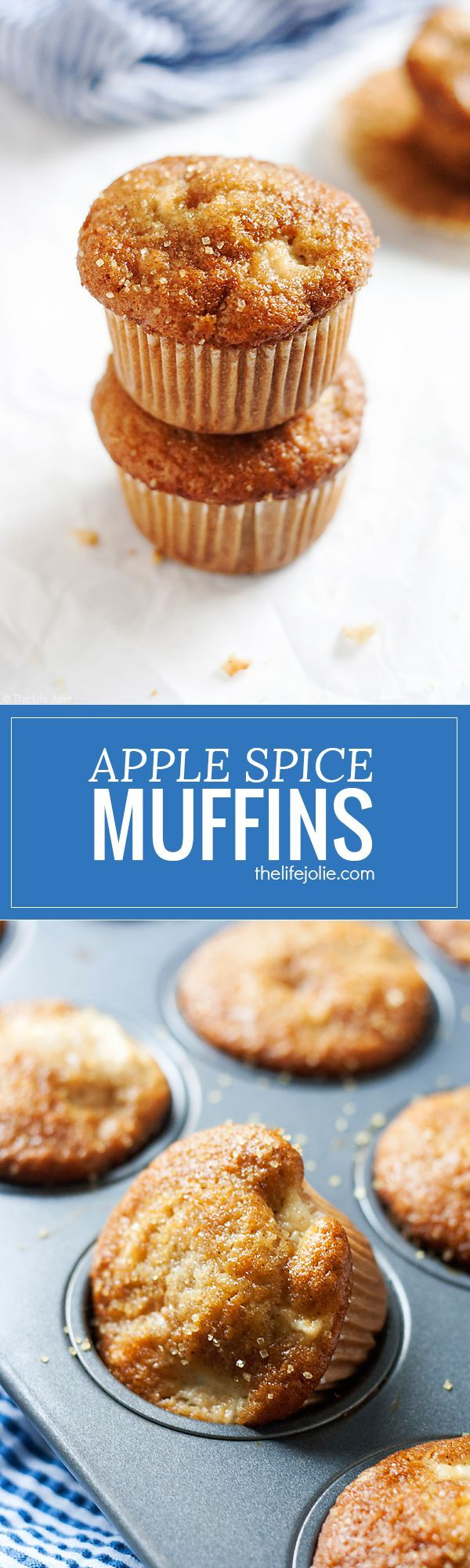 Apple Spice Muffins are one of my favorite fall recipes. Made with tasty chunks of apple, applesauce with cinnamon, nutmeg and ginger, they're so easy to make and taste great as breakfast or as a dessert!
