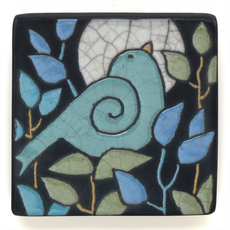 Wall Art ,Aqua Bird,Ceramic tile,handmade 4x4 raku fired art tile. $35.00, via Etsy.