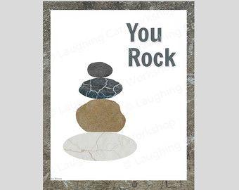 You Rock Art Funny Quote Art Positive wall art Funny Inspirational Art Pediatric Psychologist School Counselor print Dorm Decor Office Decor