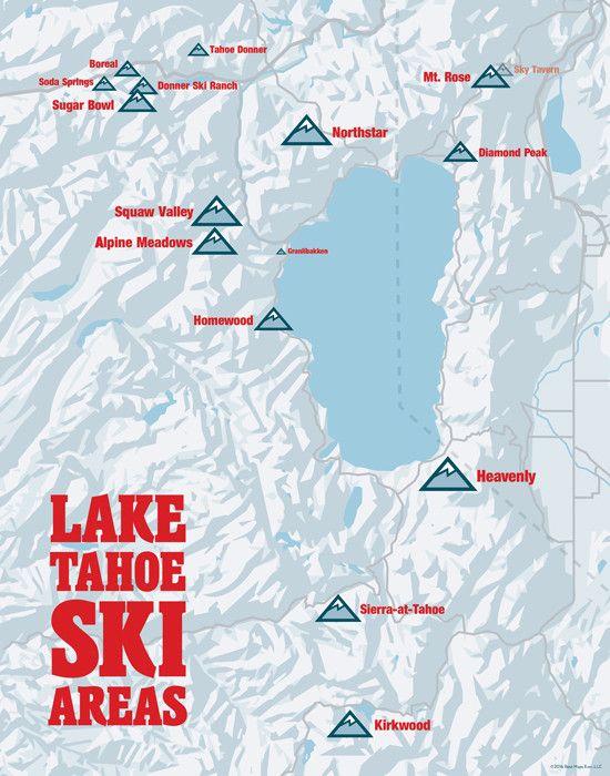 Best Lake Tahoe Map Ideas On Pinterest Lake Tahoe Vacation - Map of us ski resorts