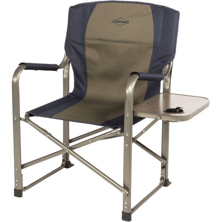 Earth Extra Heavy Duty Folding Directoru0027S Chair W/ Side Table