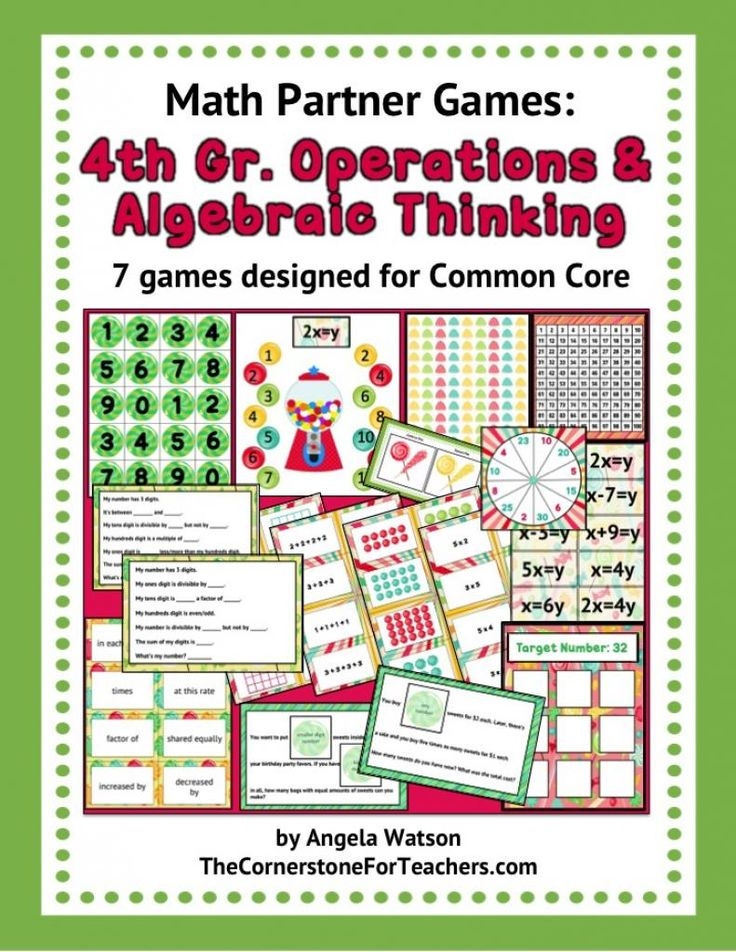 4th Grade Operations and Algebraic Thinking Games: fun math partner games for every Common Core standard! Multiplication and division strategies/ equations, using all four operations to solve word problems, choosing the operation, recognizing prime and composite numbers up to 100, identifying factors, analyzing patterns, and more.
