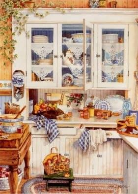 country kitchen - searched for artist's name; unfound.  If you know, please message me.
