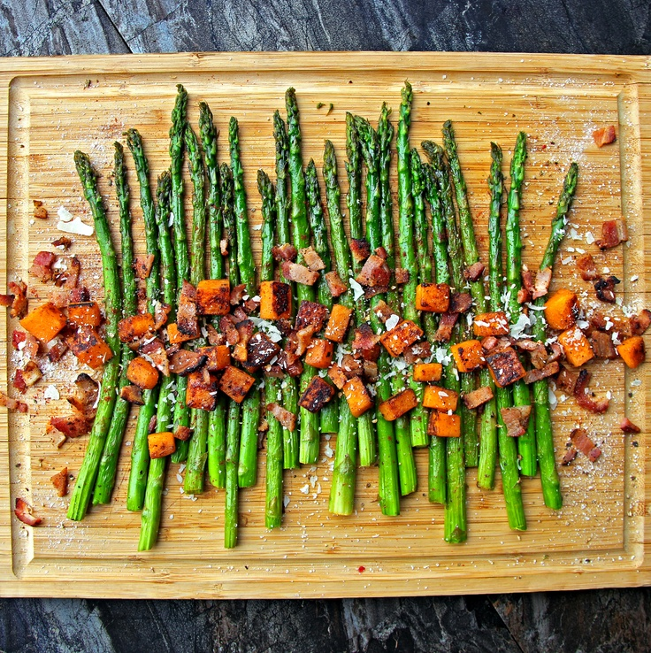 Roasted Asparagus & Sweet Potatoes with Homemade Bacon Bits