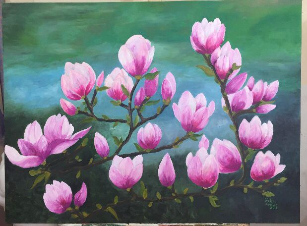 Manolyalar, magnolia 60x80 cm yağlıboya tablo