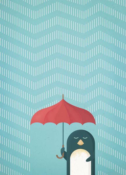 Penguin in the rain - print by Wetcake Studio.