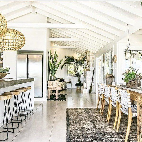 Kitchen and Dining Room. Interior by the Grove Bay Austrailia #beachhouse #calm #boehmianchic
