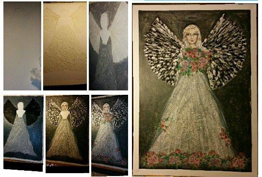 Ängel på canvas 55x45 cm. @smhhobby