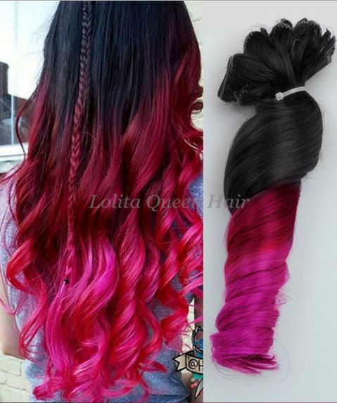 Pink Hair Extensions Black to Red Ombre by LolitaQueenHair on Etsy