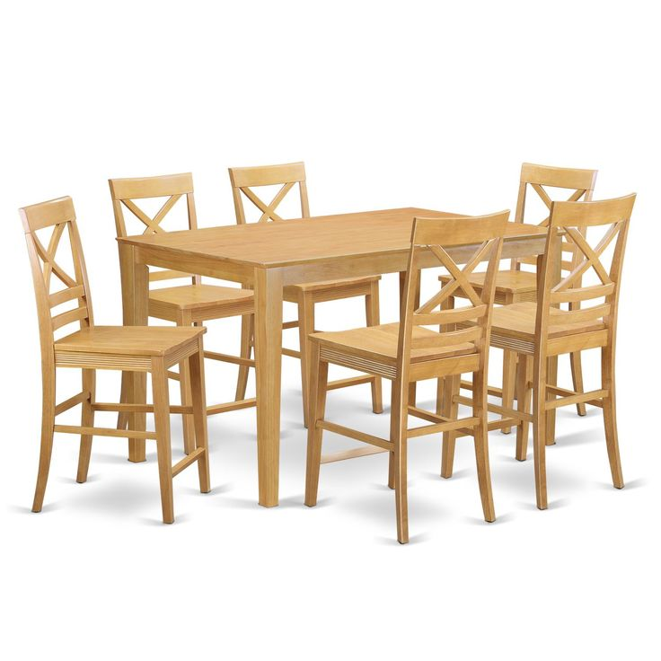traditional oak rubberwood 7piece table and chair set wooden