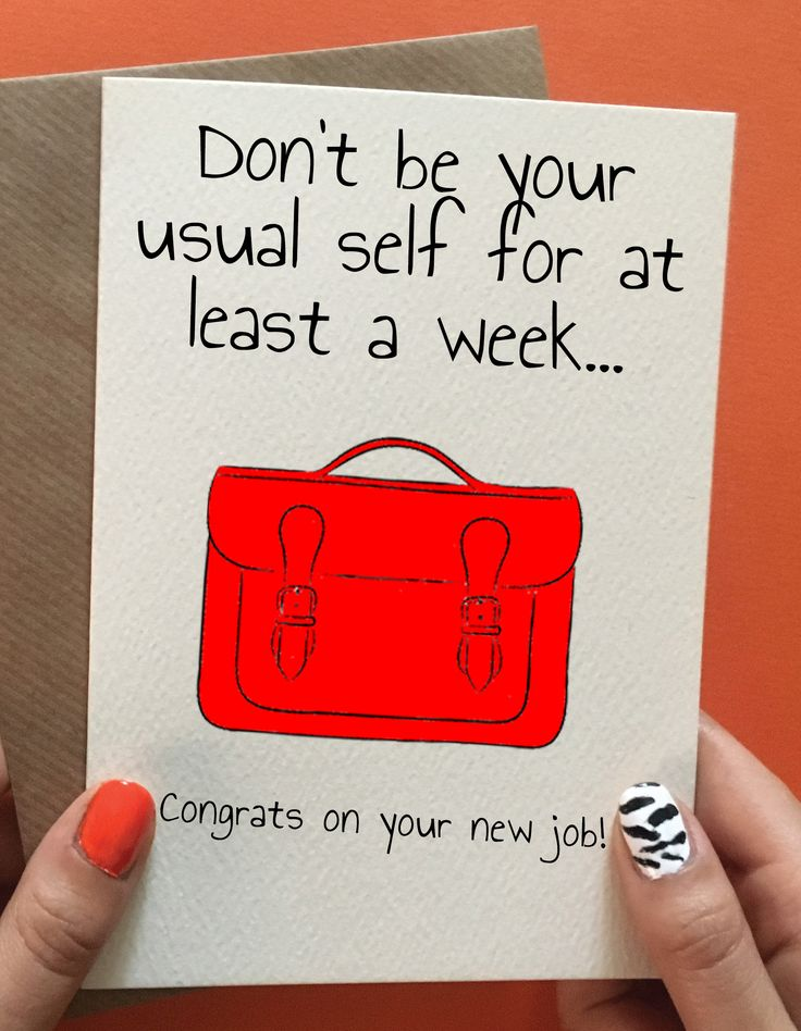 Funny new job congratulation card for her. New job gift ideas for her.