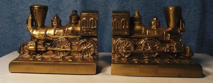 Brass Train Engine Bookends by PM Craftsman