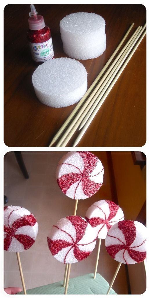 Peppermint lollipop decor - perfect idea for the shops holiday window display by mollie