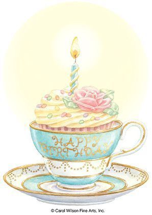 Carol Wilson Stationery 5x7 Teacup Cupcake Birthday Card with Envelope Inside Message: No One Can Hold A Candle To You! Have A Great Birthday!
