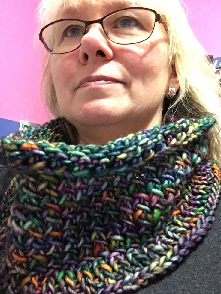 Started and finished...Jan 1st, 2018. Crystalline Cowl in Malabrigio Mecha...colour: arco iris