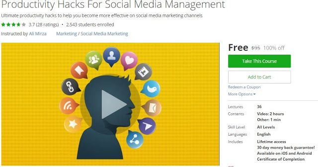 [#Udemy 100% Off] #Productivity Hacks For #Social_Media Management   About This Course  Published 10/2015English  Course Description  UPDATEDOctober 2016:My Udemy courses have been taken by 1000s of students and have been awarded 100s of positive reviews.  My WHY You know that feeling you get when you help someone? I want to feel that way 1000000 times.  Come with me on a journey to Productivity Hacks for social media management. Start saving hours on your marketingefforts.  Did you know…