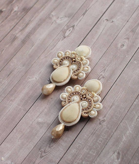Soutache dangle embroidered earrings Beige gold ivory