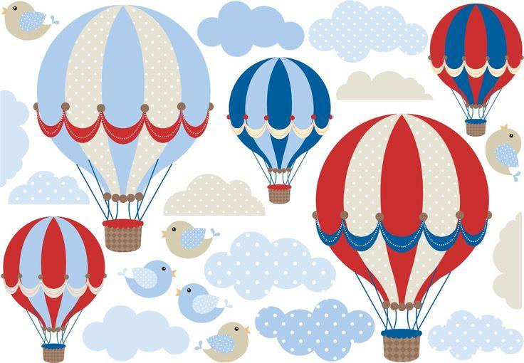 vinilo decorativo kit globos aerostaticos nubes y pajaritos