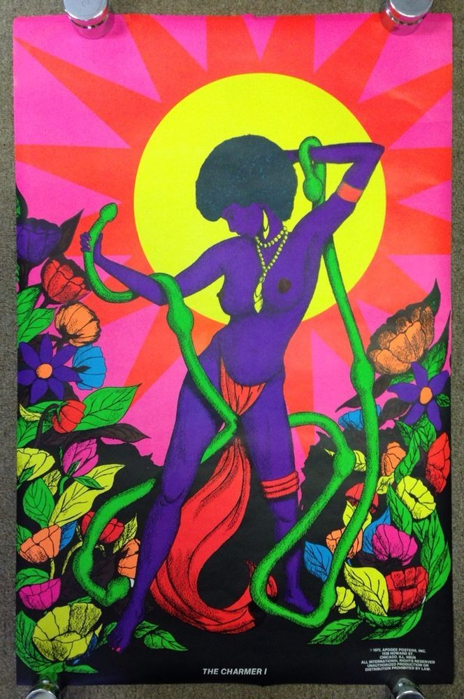 Original Vtg 1972 Black Light Poster THE CHARMER I Nude African Sexy Afro