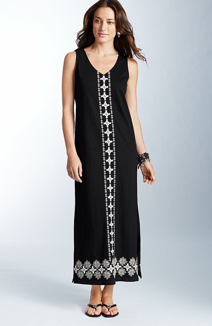 Dresses embroidered front maxi dress at j jill summer for Petite maxi dresses for beach wedding