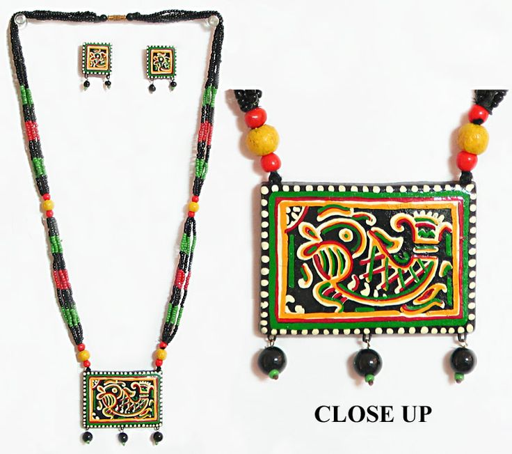 Hand Painted Terracotta Pendant and Earrings with Wooden Bead Necklace (Terracotta and Wood))